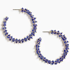 J. CREW Blue Glass Beaded Hoop Earrings NWT